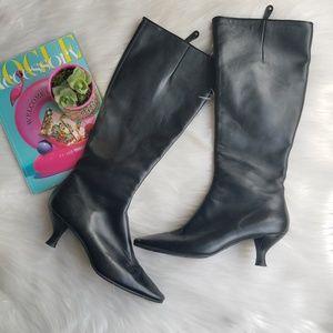 Bally Knee High Kitten Heel Boots Black Leather